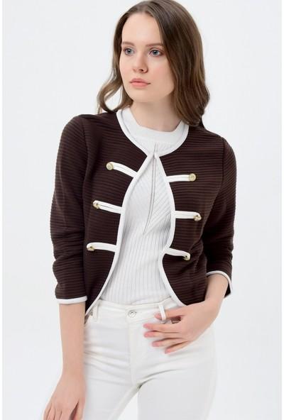 Maldia Beya Şeritli Kahverengi Kadın Ceket