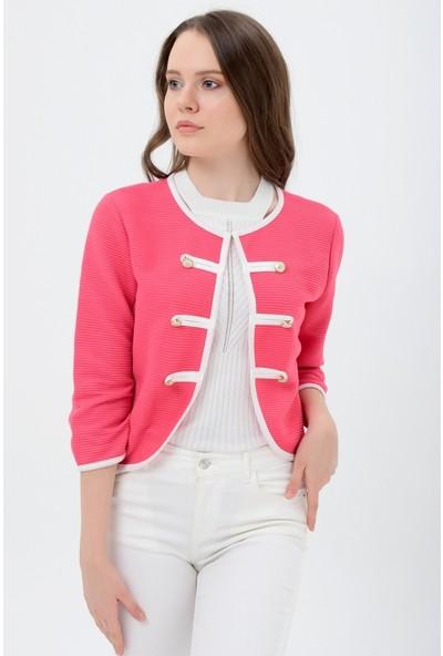 Maldia Beyaz Şeritli Kırmızı Kadın Ceket