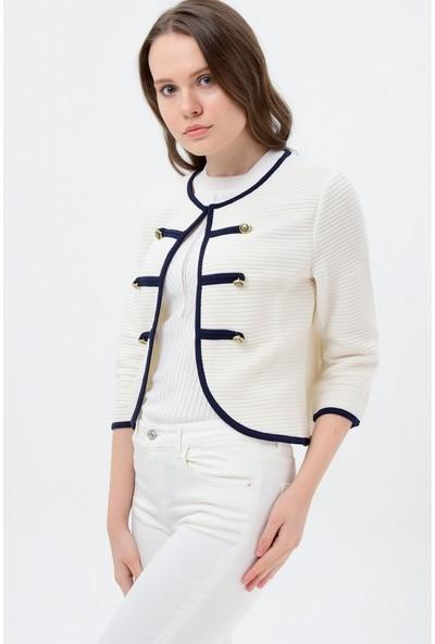 Maldia Lacivert Şeritli Krem Kadın Ceket
