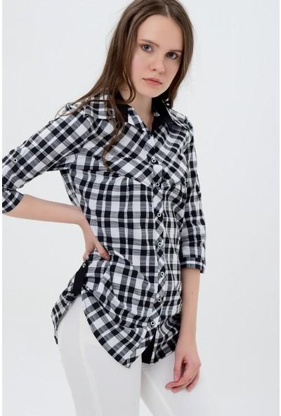 Maldia Kadın Kareli Siyah Beyaz Gömlek Tunik