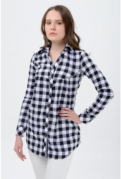 Maldia Kadın Kareli Siyah Gömlek Tunik