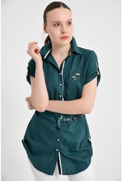 Maldia Şerit Desenli Açık Yeşil Tunik Gömlek