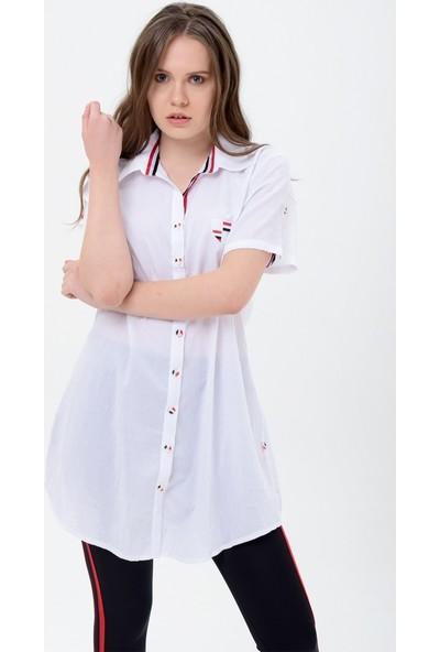 Maldia Şerit Desenlibeyaz Tunik Gömlek