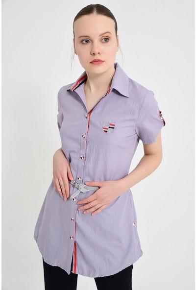 Maldia Şerit Desenli Gri Tunik Gömlek