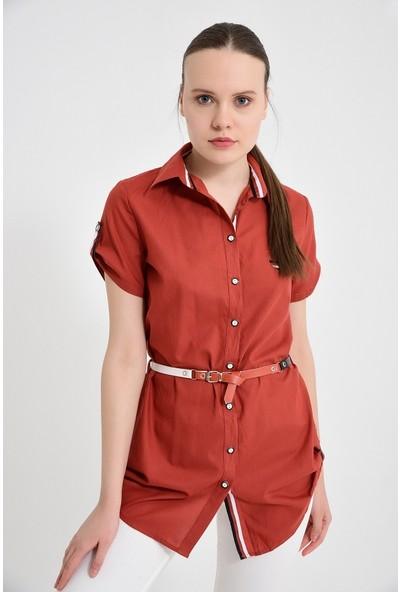 Maldia Şerit Desenli Koyu Kiremit Tunik Gömlek