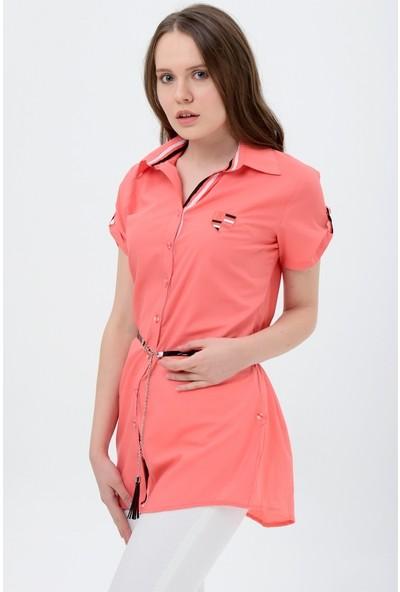Maldia Şerit Desenli Mercan Tunik Gömlek