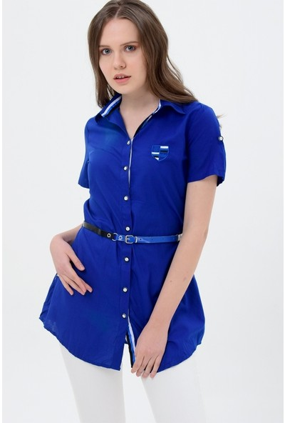 Maldia Şerit Desenli Saks Mavisi Tunik Gömlek