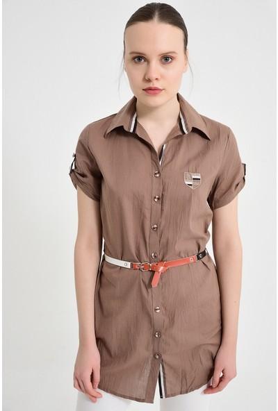 Maldia Şerit Desenli Vizon Tunik Gömlek