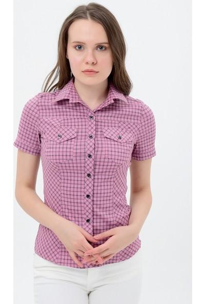 Maldia Kısa Kol Kareli Kadın Gömlek
