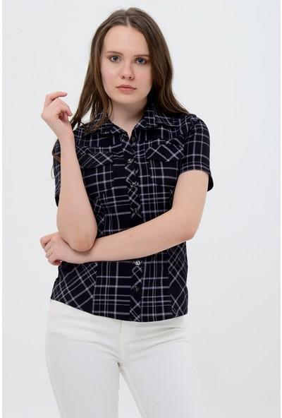 Maldia Kısa Kol Siyah Kareli Kadın Gömlek