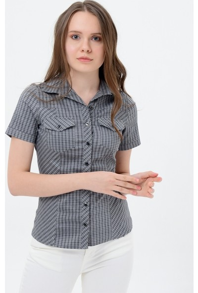Maldia Kısa Kol Koyu Gri Kareli Kadın Gömlek