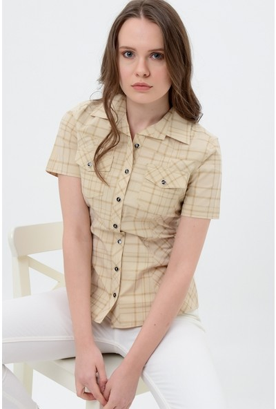Maldia Kareli Krem Kısa Kol Gömlek