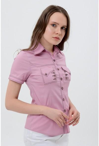 Maldia Lila Kısa Kol Kadın Gömlek