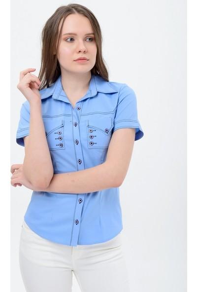 Maldia Kadın Mavi Kısa Kol Gömlek