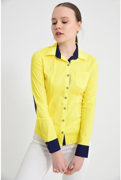 Maldia Kol Paçalı Sarı Kadın Gömlek