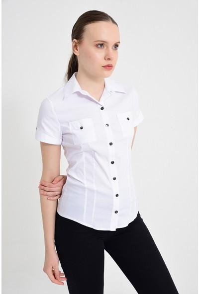 Maldia Beyaz Kısa Kol Kadın Gömlek