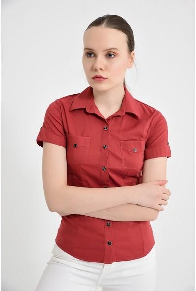 Maldia Kiremit Kısa Kol Kadın Gömlek