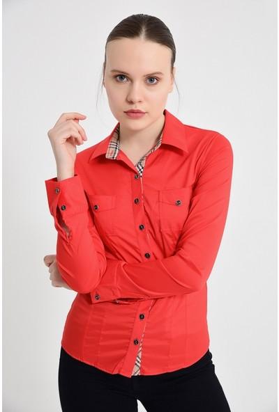 Maldia Kadın Uzun Kol Kırmızı Gömlek