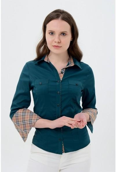 Maldia Uzun Kol Yeşil Yaka Desenli Kadın Gömlek