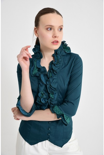 Maldia Kadın Koyu Yeşil Bluz Gömlek