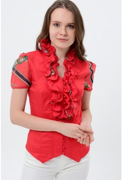 Maldia Püsküllü Yaka Kırmızı Kadın Bluz