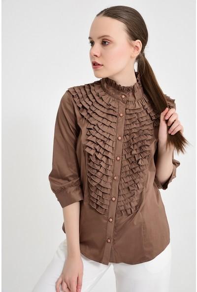 Maldia Fırfırlı Kahve Kadın Bluz Gömlek