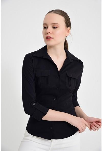 Maldia Siyah Uzun Kol Kadın Gömlek