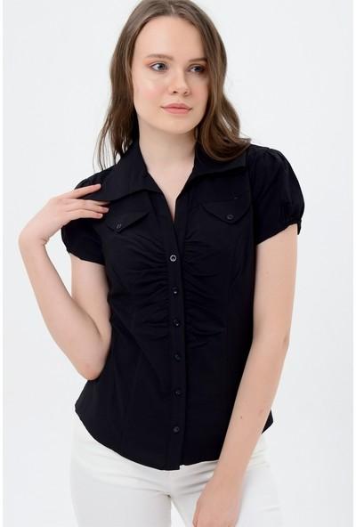 Maldia Kadın Siyah Kısa Kol Gömlek