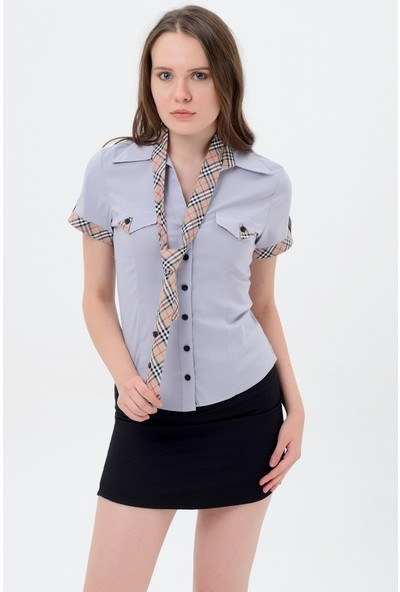 Maldia Kadın Gömlek Gri Model