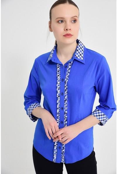 Maldia Büyük Beden Mavi Uzun Kol Kadın Gömlek
