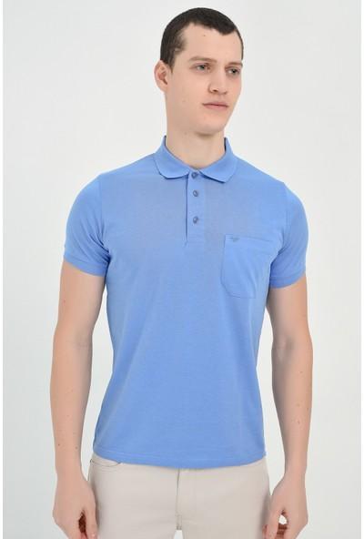 Morven Mavi Basic Polo Yaka Suprem Tshirt - 73256