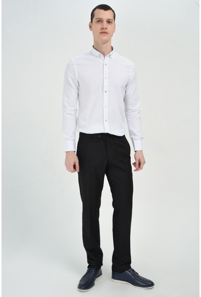 Morven Siyah Jakar Slim Pantolon