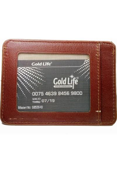 Gold Life Deri Cüzdan Kartlık - Kahverengi