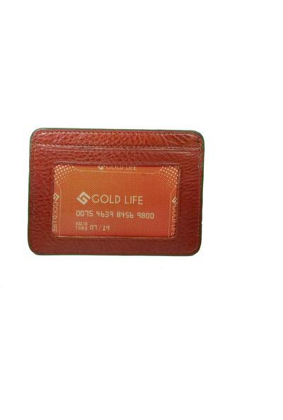 Gold Life Deri Kartlık Cüzdan - Kahverengi
