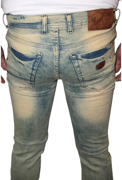 Saflee 10 Dar Kesim Oturtmalı Likralı Slim Fit Erkek Kot Pantolon
