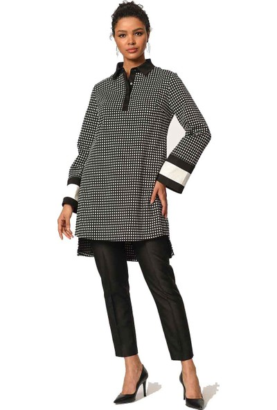 Mizalle Kolları Şerit Detaylı Tunik Gömlek