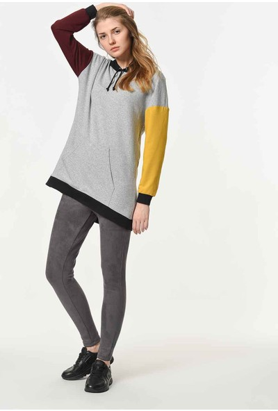 Mizalle Renk Parçalı Kapüşonlu Sweatshirt