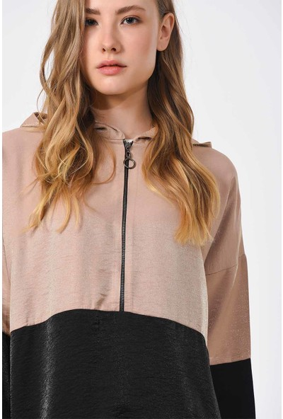 Mizalle İki Renkli Fermuarlı Sweatshirt