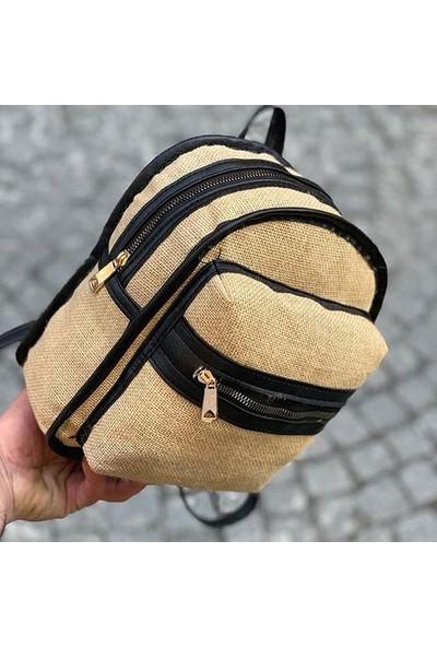 Çi̇ft Fermuarlı Mi̇ni̇ Hasır Sırt Çanta