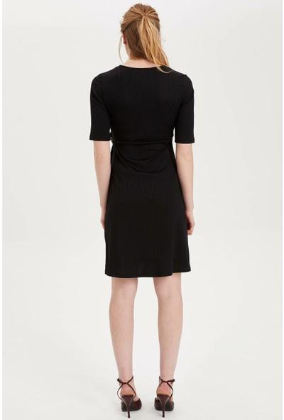 Defacto Kadın Emzirme Özellikli Toka Detaylı Hamile Elbise