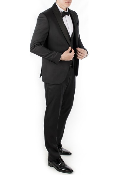 Deepsea Siyah Kare Desenli Şifon Yaka Papyon Ve Mendilli 3'Lü Erkek Takım Elbise 1905000