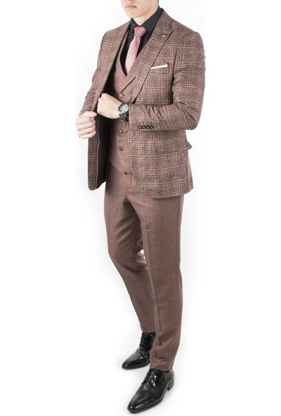 Deepsea Beyaz-Kahve Kırçıl Desenli Ceket Yelek Pantolon Erkek Takım Elbise 1910925
