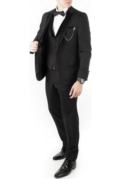 Deepsea Siyah Yaka Kadife Şeritli Tek Düğme 3'Lü Erkek Takım Elbise 1910950
