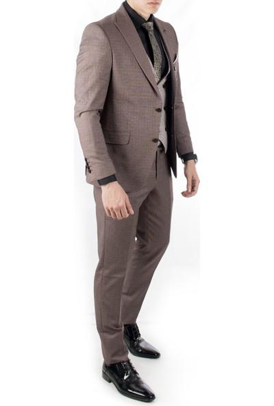 Deepsea Bordo Ceket Ve Yeleği Desenli 3'Lü Erkek Takım Elbise 1910953