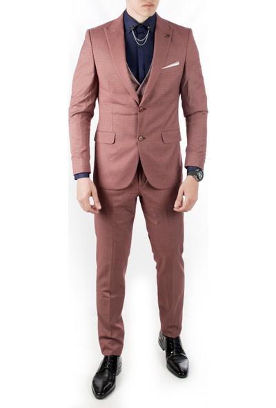 Deepsea Kiremit Rengi Ceket Ve Yeleği Desenli 3'Lü Erkek Takım Elbise 1910953