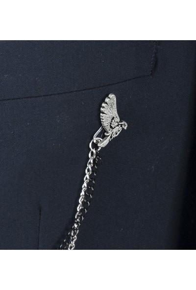 Deepsea Siyah Taş Desenli Ceket Yaka Aksesuarı 1901738