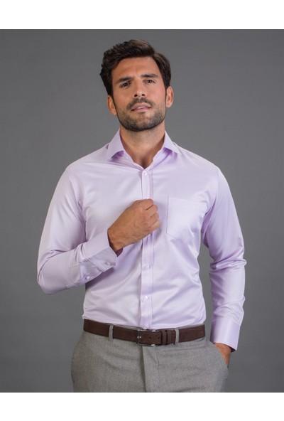 Tudors Klasik Fit Düz Lila Erkek Gömlek