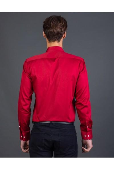 Tudors Slim Fit Düz Kırmızı Erkek Gömlek