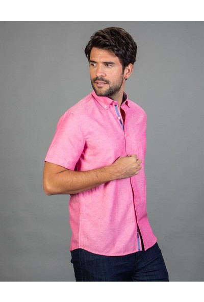 Tudors Klasik Fit Kısa Kol Pembe Erkek Gömlek