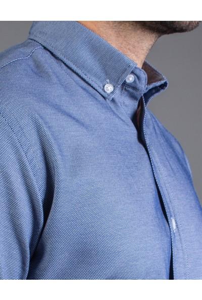 Tudors Klasik Fit Mavi Erkek Gömlek